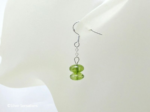 Green Tourmaline Rondelle Beads & Sterling Silver Chain Short Dangly Earrings